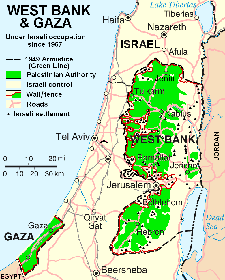 the Annexation of the West Bank in Palestine by Israel Map