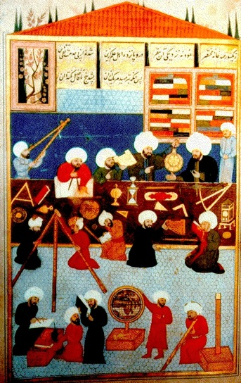 Painting of the Istanbul Observatory. It shows workers at the observatory of Taqi al-Din at Istanbul in 985 H (1577). Two observers are working with an astrolabe. A universal astrolabe of the saphea form is on the table in front of the man with the dividers and paper. The painting is from Shahinshah-nama (History of the King of Kings), an epic poem by 'Ala ad-Din Mansur-Shirazi, written in honour of Sultan Murad III (reigned 1574-95 [AH 982-1003])