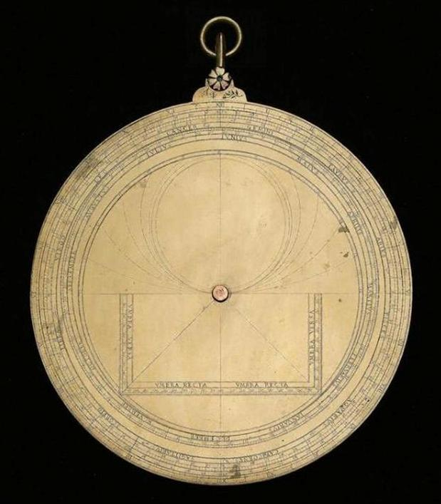 The back of the astrolabe is then decorated with a varying number and range of tables, the most common being a calendar scale allowing the user to match the Julian / Gregorian calendar date with the position of the Sun in the zodiac. Also common to almost all astrolabes is the shadow square for calculating the height of buildings using basic trigonometry.