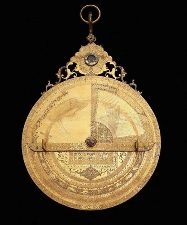 Astrolabe for determining the Qibla.