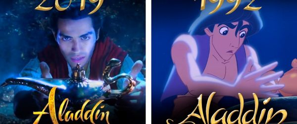 Aladdin film poster comparison. Screen capture from YouTube.
