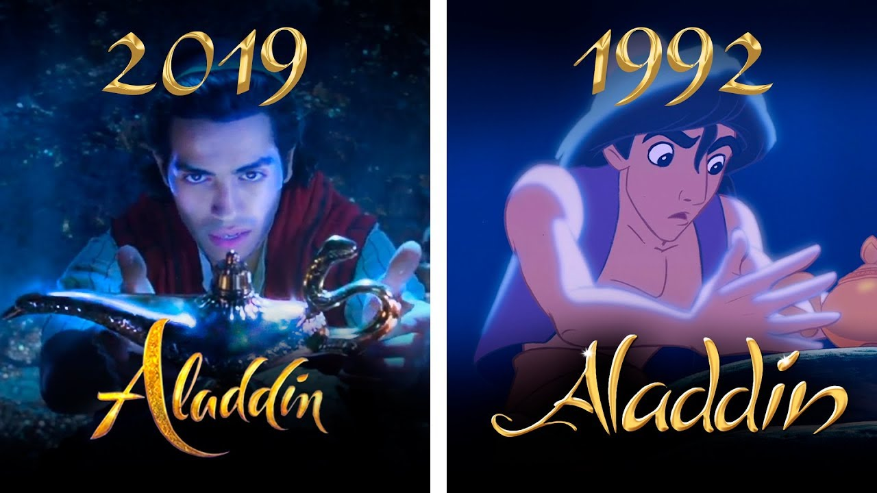 Live-action Aladdin next to animated Aladdin