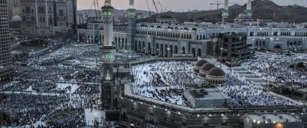 Muslim pilgrims pray around the holy Kaaba at the Grand Mosque in Mecca, Saudi Arabia. Credit: Mohammed Saber/EPA